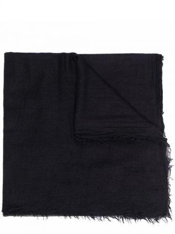 Black silk-cashmere blend scarf