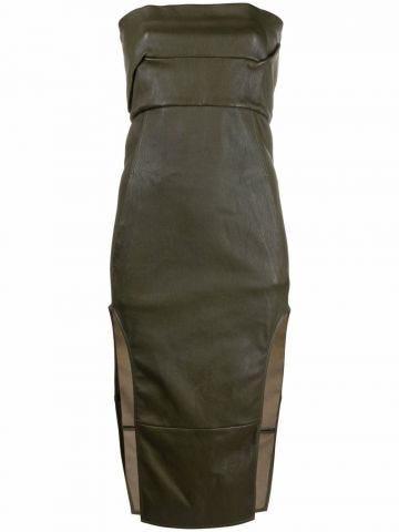 Green leather strapless midi dress