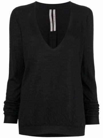 Black V-neck cashmere sweater