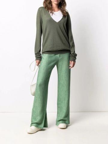 Green V-neck cashmere sweater