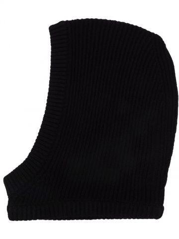 Black ribbed-knit balaclava hat
