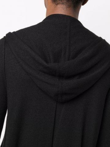 Black long hooded cardigan