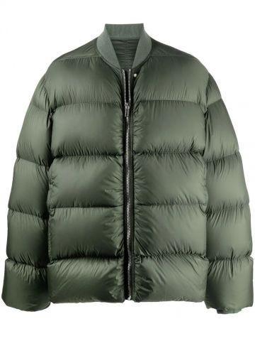 Green zip-fastening padded jacket