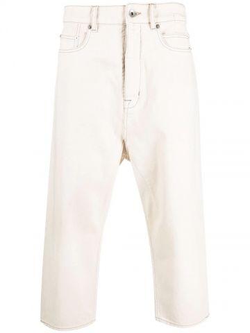 White crop jeans