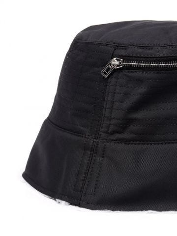 Black raw-edge zip-detailed bucket hat