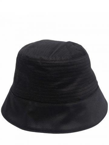 Black zip-detailed bucket hat