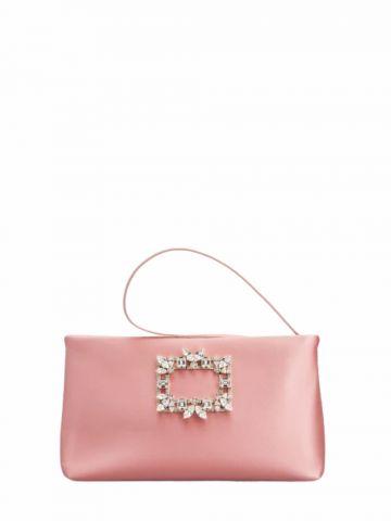 RV Nightlily Broche Vivier Buckle Mini Bag in pink satin