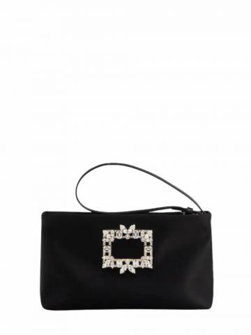 RV Nightlily Broche Vivier Buckle Mini Bag in black satin