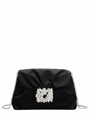 Mini Drapé bag in black satin