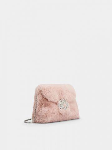 Pink Faux Fur Mini Drapé bag