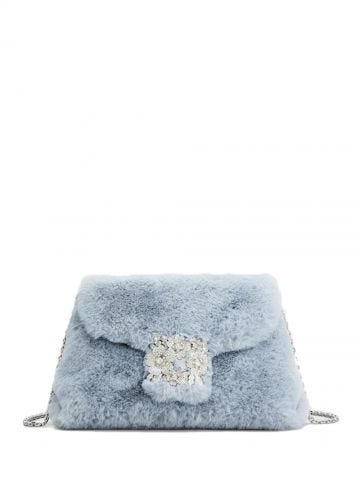 Blue Faux Fur Mini Drapé bag
