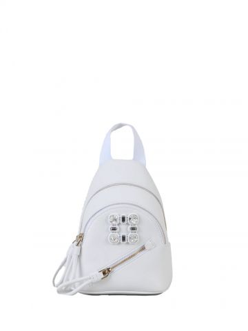 White Walky Viv' Strass Buckle Mini Backpack