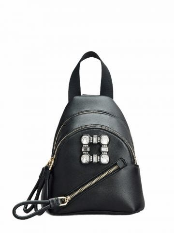 Walky Viv' Strass Buckle Mini Backpack in soft black leather
