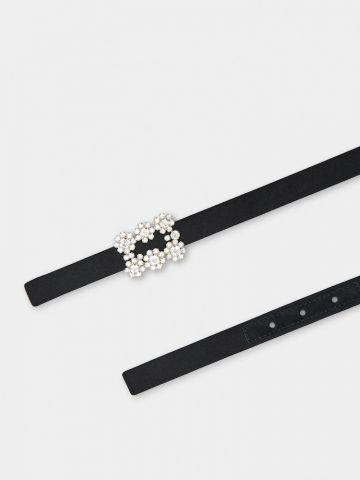 Flower Strass Buckle Belt in black satin