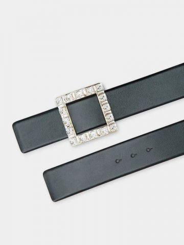 Très Vivier Strass Buckle Belt in black leather
