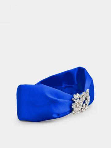 RV Bouquet Strass Bandeau in blue satin