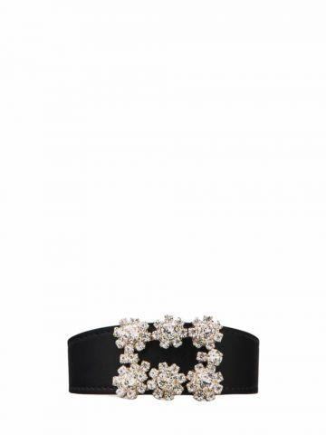 Flower Strass Buckle Bracelet in black eather
