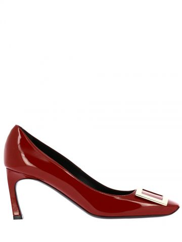 Trompette Metal Buckle Pumps in red patent leather