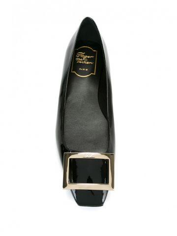 Trompette Metal Buckle Ballerinas in black patent leather