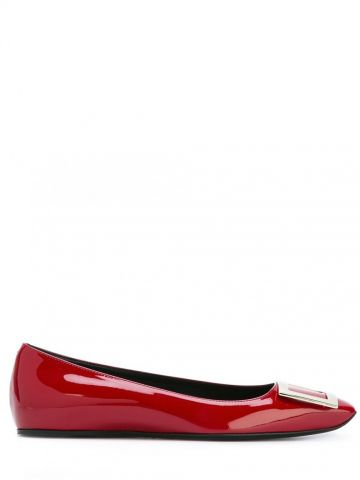 Trompette Metal Buckle Ballerinas in red patent leather