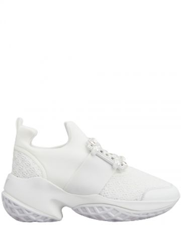 Viv' Run Strass Buckle Sneakers in white technical fabrics