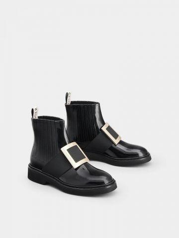 Viv' Rangers Metal Buckle Chelsea Booties in black leather