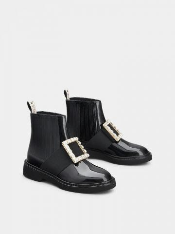 Viv' Rangers Strass Buckle Chelsea Booties in black patent leather