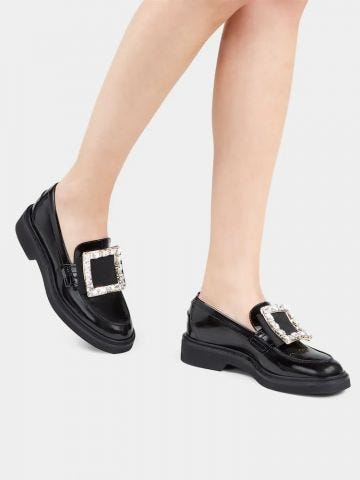 Viv' Rangers Strass Buckle Loafers in black patent leather