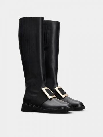 Viv' Rangers Metal Buckle Boots in black Leather