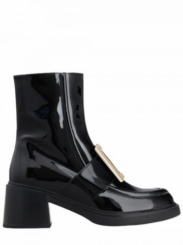 Viv' Rangers Metal Buckle Ankle Boots in black patent leather