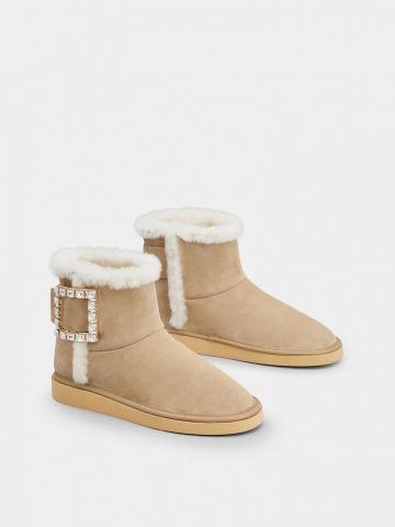 Winter Viv' Strass Buckle Booties in beige Suede