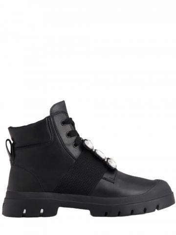 Walky Viv' Lace Up Strass Buckle Booties in black leather