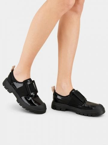 Walky Viv' Lacquered Buckle Sneakers in black leather