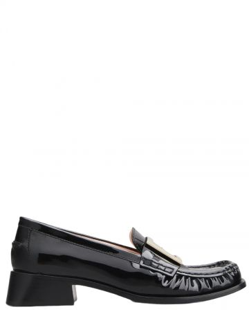 Preppy Viv' Metal Buckle Loafers in black patent leather