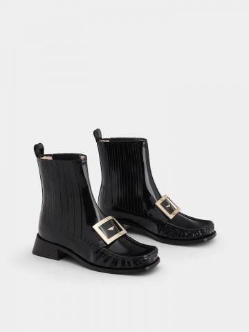 Preppy Viv' Metal Buckle Chelsea Booties in black Patent Leather