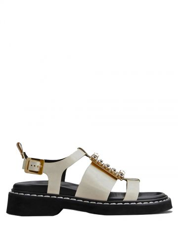 Viv' Rangers Strass Buckle Sandals in white leather