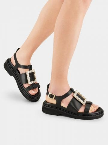 Viv' Rangers Strass Buckle Sandals in black leather