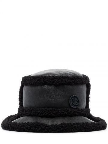 Black faux-shearling trim bucket hat