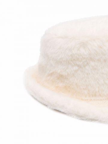 White faux-fur bucket hat