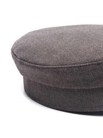 Grey logo baker boy cap