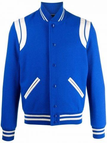 Teddy jacket in blue wool