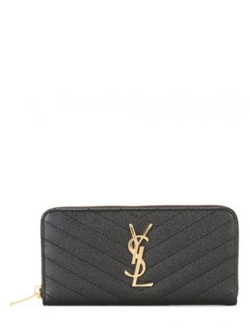 Monogram zip aroung wallett in grain de poudre embossed black leather
