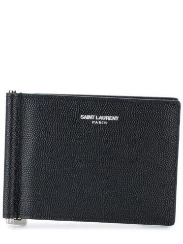 Portafoglio Monogram piccolo in pelle nera lucida con clip per banconote