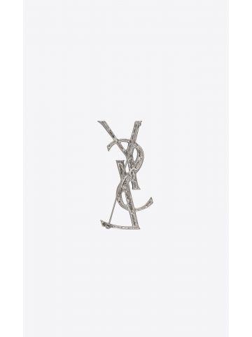 Opyum YSL crocodile brooch in silver brass