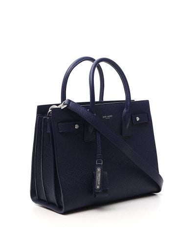 Classic Sac de Jour baby bag in blue grained leather