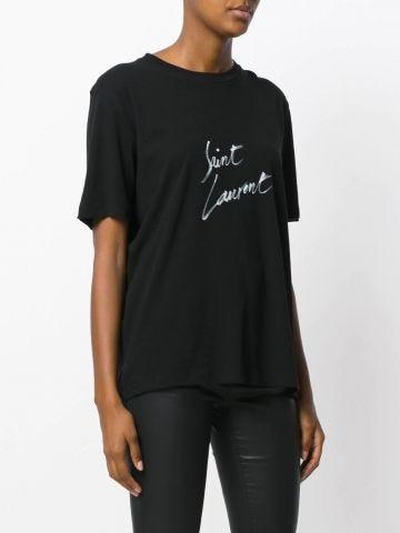 Black Boyfriend T-shirt with signature Saint Laurent print