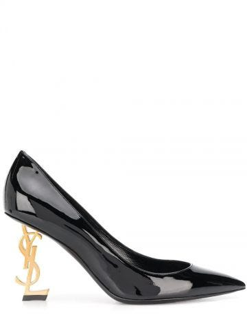Opyum pumps in black patent leather with gold-tone heel