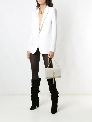 Notched collar white tuxedo jacket in grain de poudre