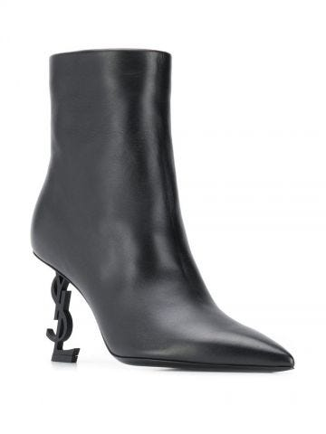 Opyum ankle boots in black leather with black heel