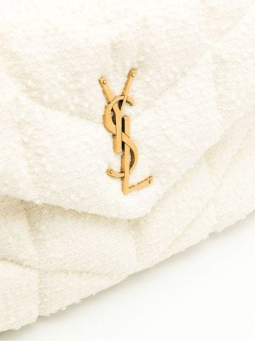 Borsa Puffer piccola bianca in tweed bouclé trapuntato
